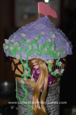 Homemade Rapunzel Birthday Cake Design: Finding a Rapunzel or Tangled cake idea just did not exist, so I developed this Homemade Rapunzel Birthday Cake Design one on my own. I used a 9x13 cake