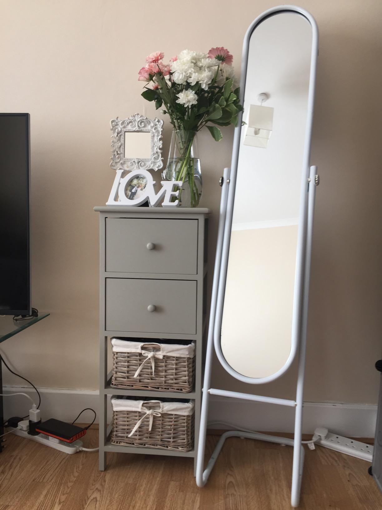 Free standing tilting full length floor mirror white
