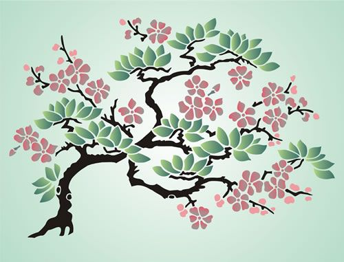 Cherry Blossom Tree Drawing Wall Stencil Patterns Japanese Drawings
