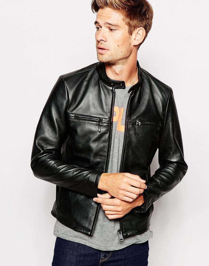 cb0749710452 Replay Leather Biker Jacket Vintage Look