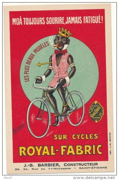CYCLES - Carte Publicitaire Cycles Royal Fabric - Saint Etienne, Noir - Fritayre