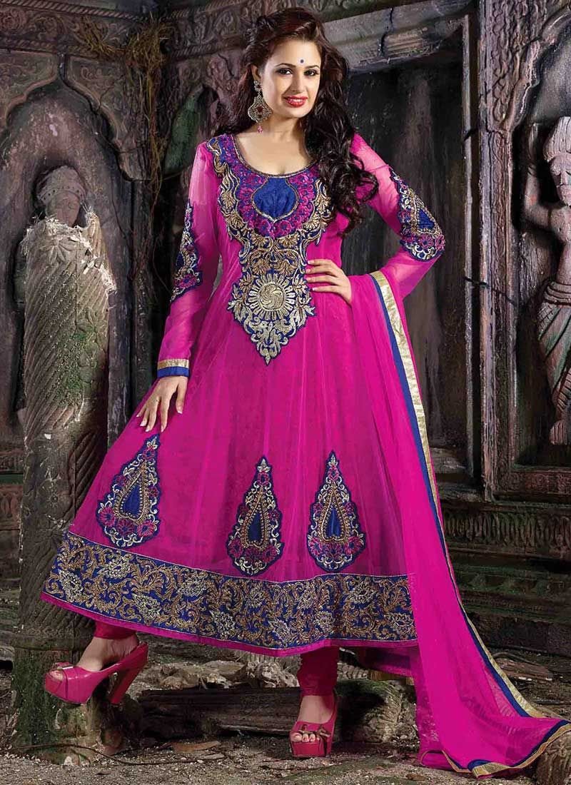 Pretty Magenta Net Anarkali Suit | Moda indu | Pinterest