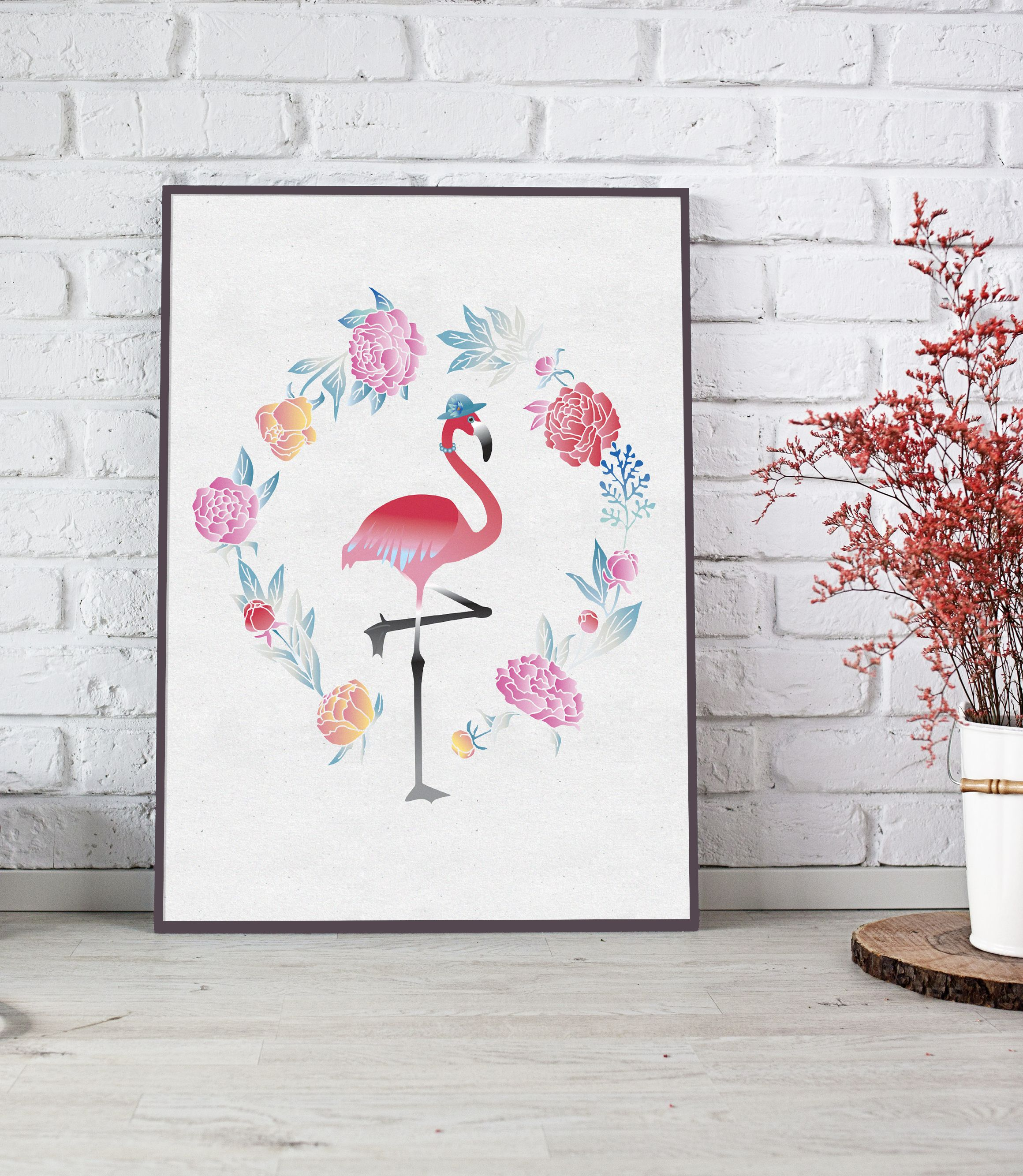 Flamingo Art, Flamingo Print, Printable Art, Poster, Flamingo, Birds, Greenery