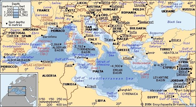 Ancient Mediterranean Map sea depth map of the mediterranean with ...