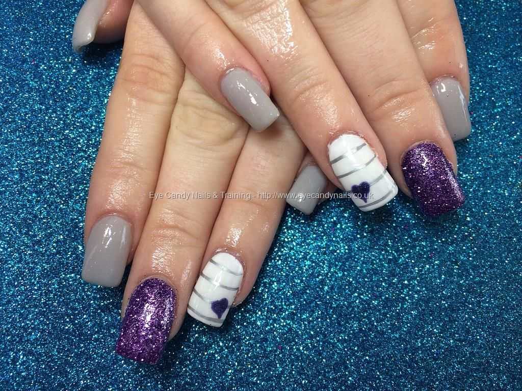 Acrylic nails with purple and grey gel polish   Nails   Pinterest ...