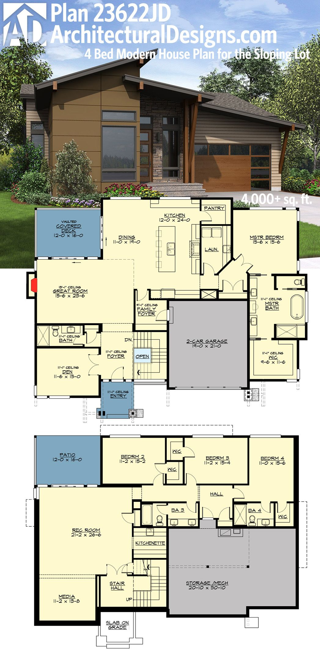 Plan 23622jd 4 Bed Modern House Plan For The Sloping Lot Basement House Plans Architectural Design House Plans Modern House Floor Plans