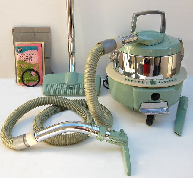 1950s General Electric Canister Swivel Top Vacuum Cleaner