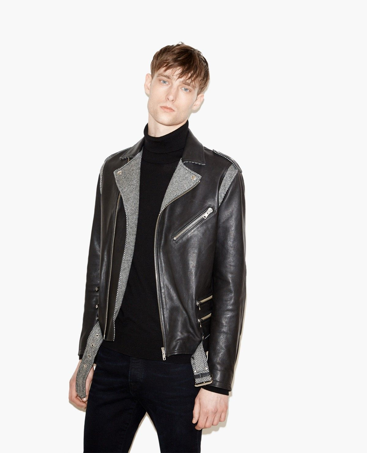 Biker jacket with houndstooth details Leather The