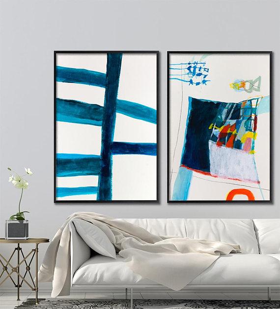 AuBergewohnlich ABSTRAKTE Malerei Original Set Von Zwei Diptychon Kunst Zeitgenössische  Kunst Blau Abstrakte Kunst übereinstimmende Wand Kunst 1. Jahrestagsgeschenu2026