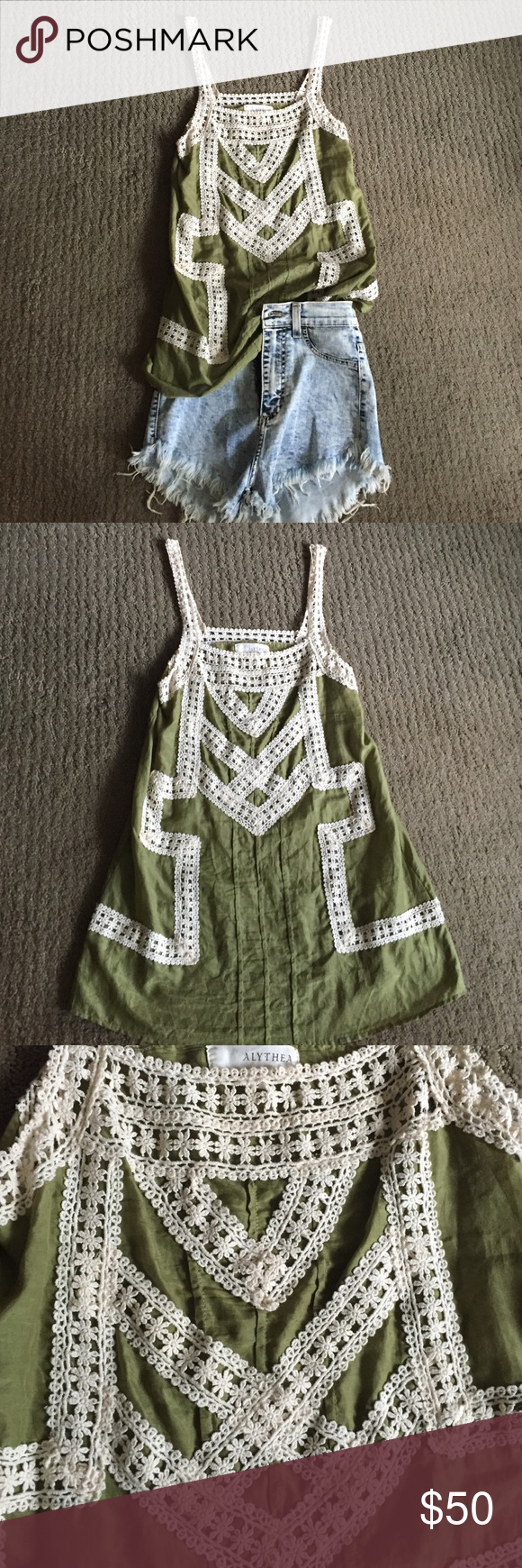 Gorgeous Green Lace Tunic This could be a top or a short dress- very cute! And worn only a handful of times. Purchased at a boutique - it is NOT Anthropologie- the tag says alythea Anthropologie Tops Tunics