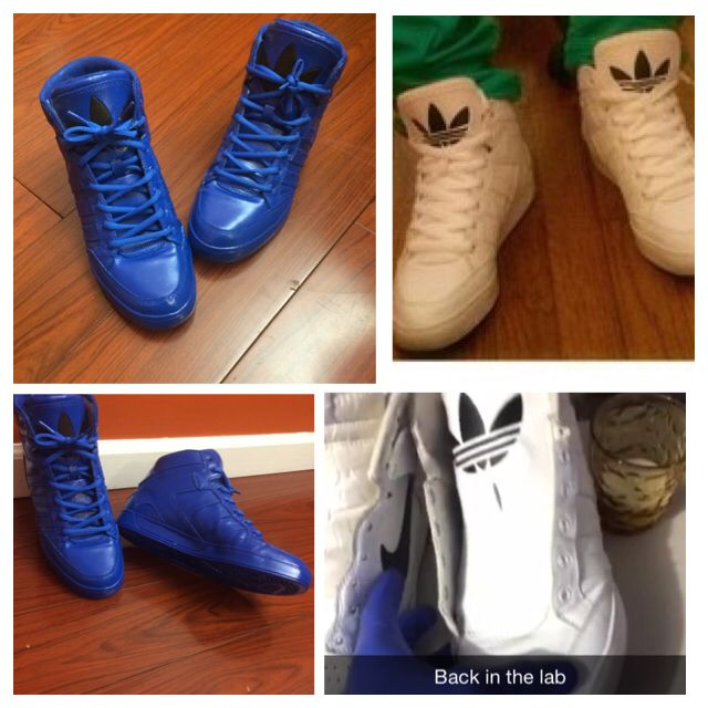 Before and after pic of the Adidas mid court
