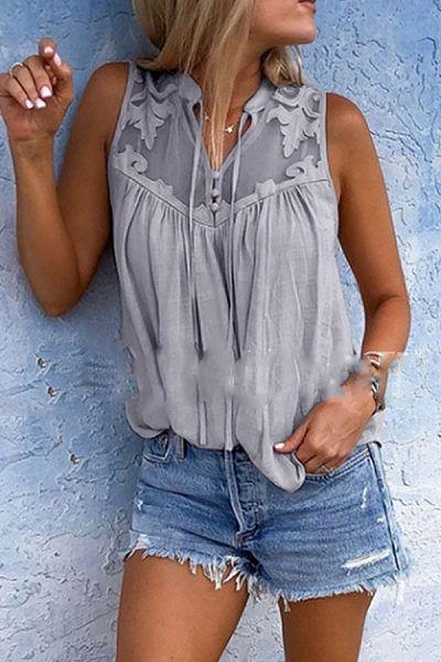 Women Patchwork Button Vest Top Sleeveless Casual Tank Blouse Summer Tops Shirt