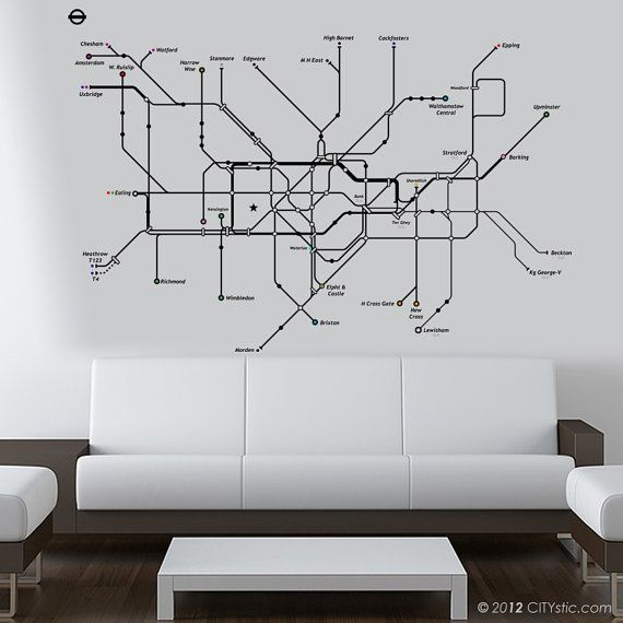 Subway Map Wall Art Wall Art Stickers Wall Decal Huge Underground Tube Map.London Wall Decal Huge Underground Tube Map With Color Dots For