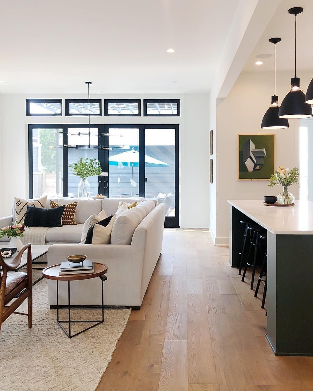 Beautiful Open Layout Concept Living Room And Kitchen With Neutral