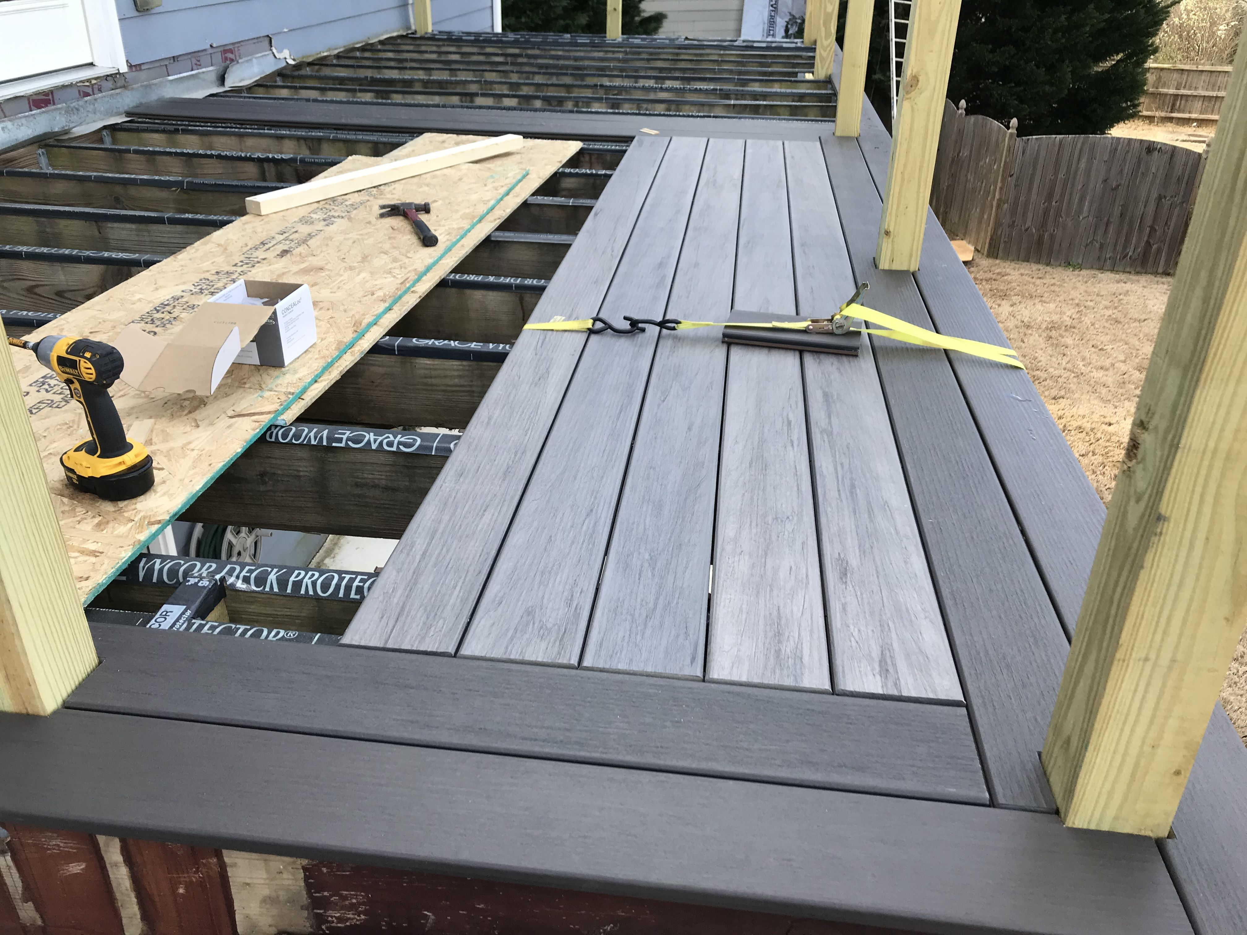 Installing Timbertech Legacy Composite Deck Boards In Espresso And Ash Deck Flooring Decks Backyard Deck Remodel