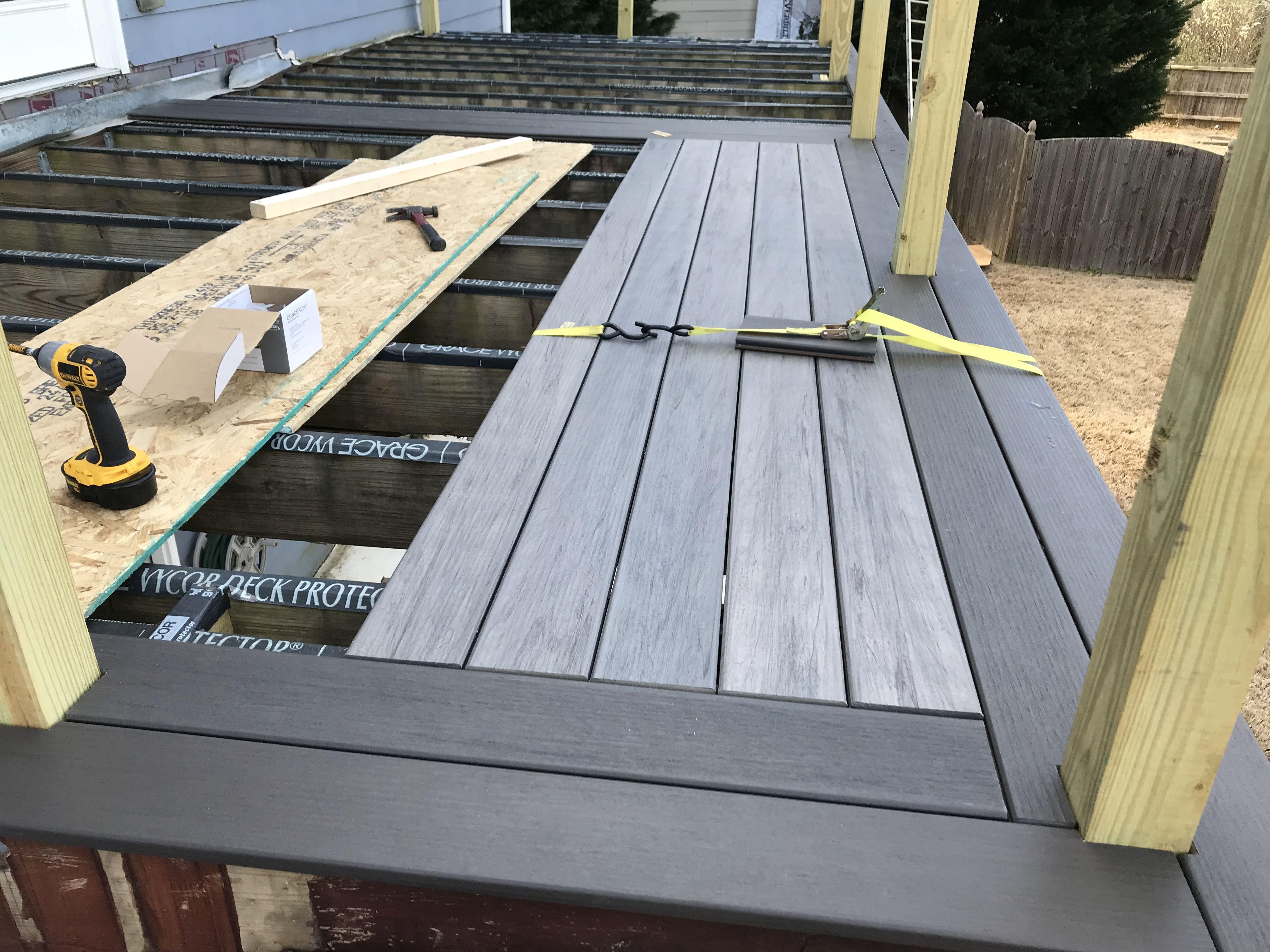 Installing Timbertech Legacy Composite Deck Boards In Espresso And Ash Deck Flooring Decks Backyard Deck Remodel