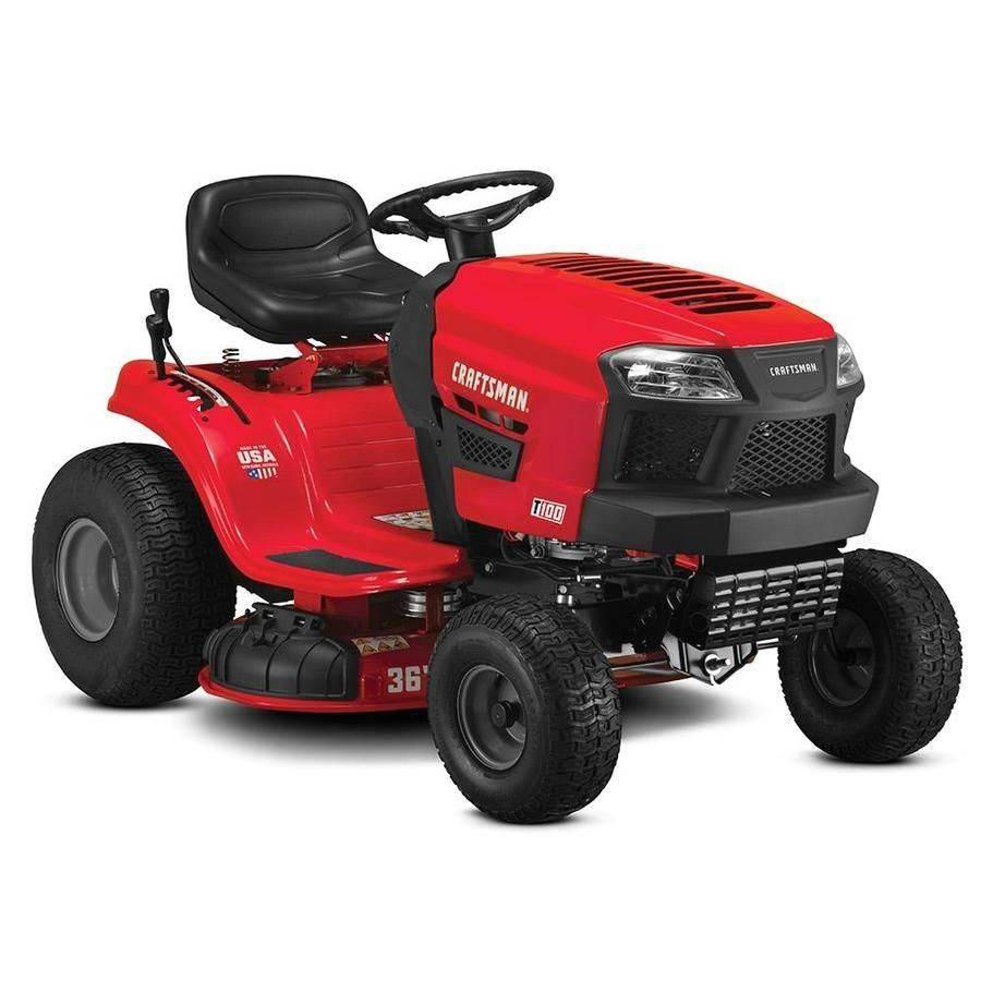 Craftsman T100 11 5 Hp Manual Gear 36 In Riding Lawn Mower With Mulching Capability Included Lowes Com Mod In 2020 Lawn Mower Riding Lawn Mowers Lawn Mower Storage