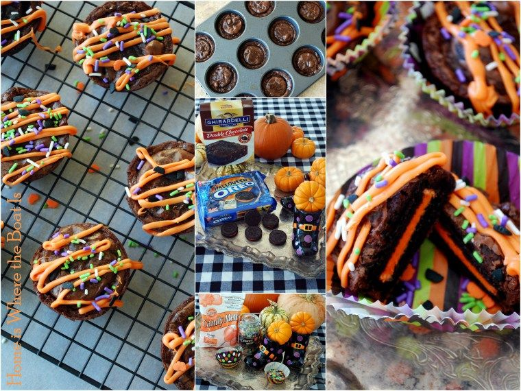 Halloween Oreos and brownie mix makes - Halloween Oreo Brownies, quick and easy, just dip oreo's in brownie mix and bake 15 min. decorate.