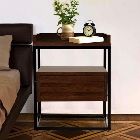Walnut Robert Bedside Table Industrial Style Home