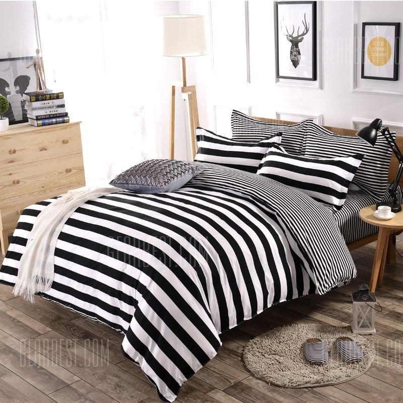 Only 38 05 Buy White And Black Striped Pattern Plain Comfy Bedding Bedsheet Set At Gearbest Store With Free Shipping Bedding Sets Comfy Bed Dorm Bedding Sets