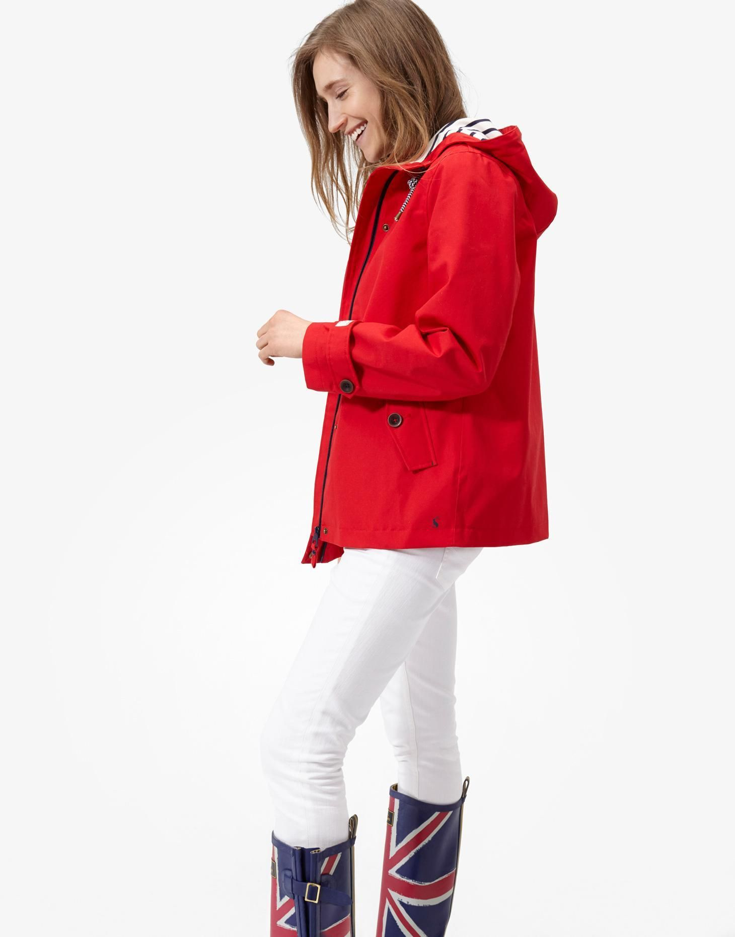 Coast Red Waterproof Hooded Jacket , Size US 6 | Joules US ...