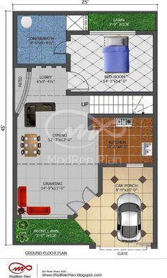 5 Marla House Plan |1200 Sq Ft| 25x45 Feet|www.modrenplan.