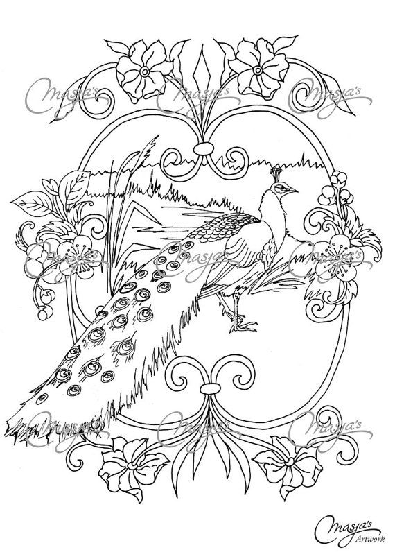 Masjas Peacock Coloring Page made by Masja van den Berg