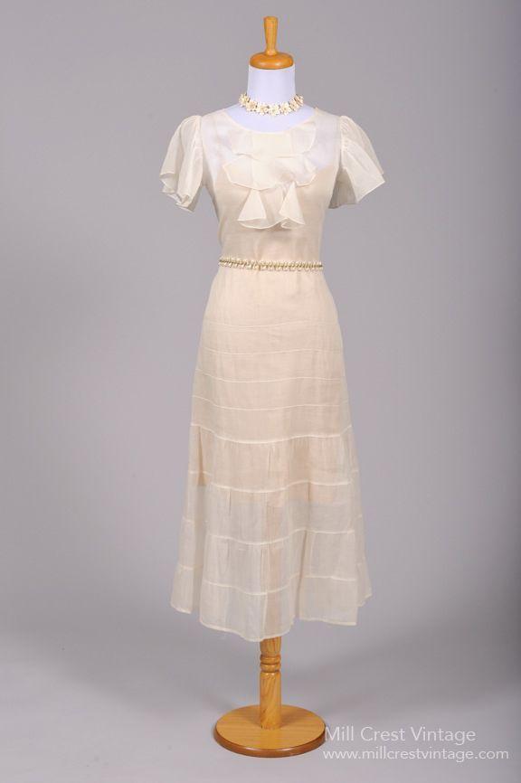 1930 Organdy Tea Style Vintage Wedding Dress | Vintage weddings ...