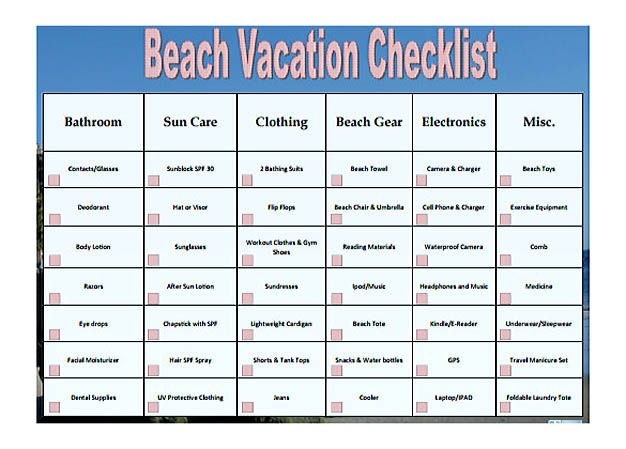 Free Beach Vacation Checklist Template Pdf Format  Checklist