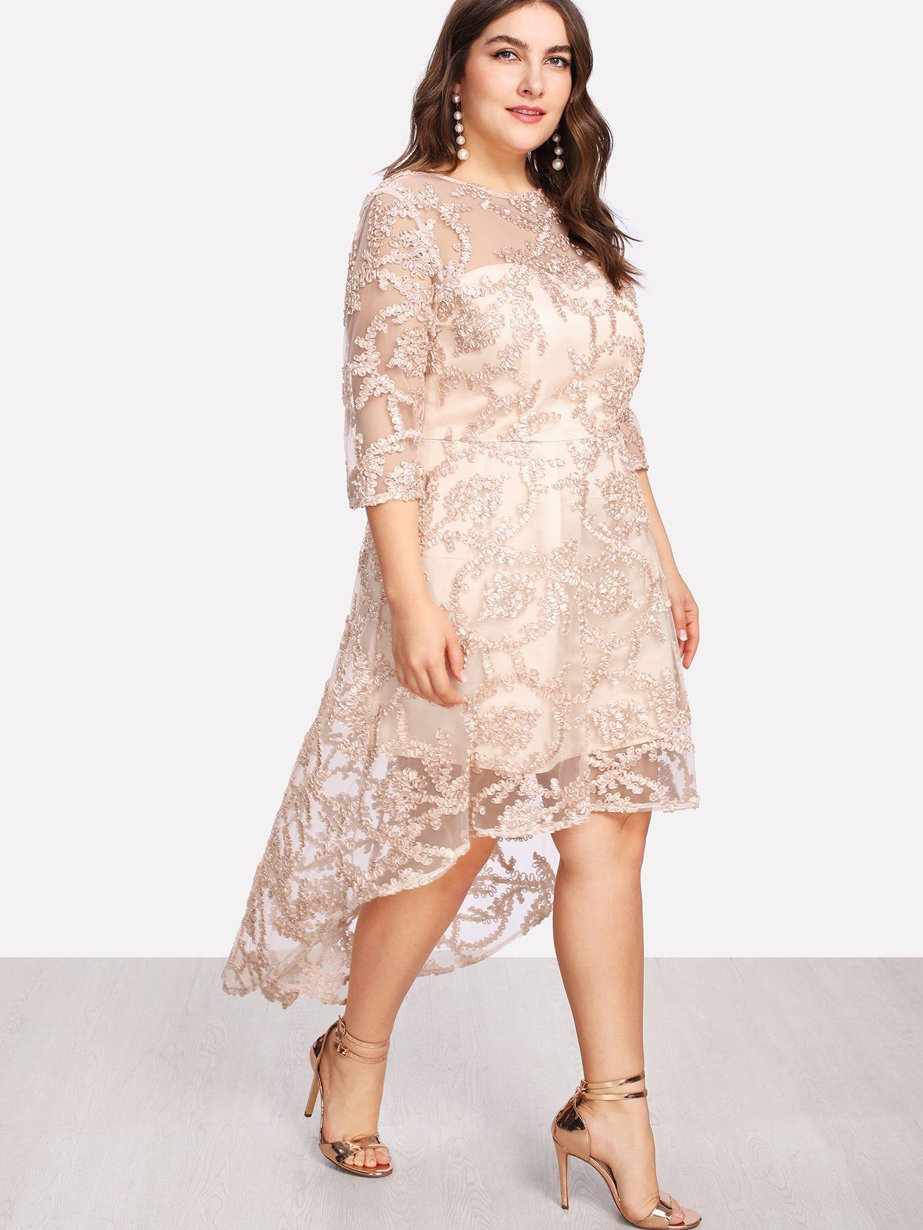 Applique Mesh Overlay Dip Hem Dress Plus Size Dresses Hem Dress Three Quarter Length Sleeve Dress [ 1785 x 1340 Pixel ]