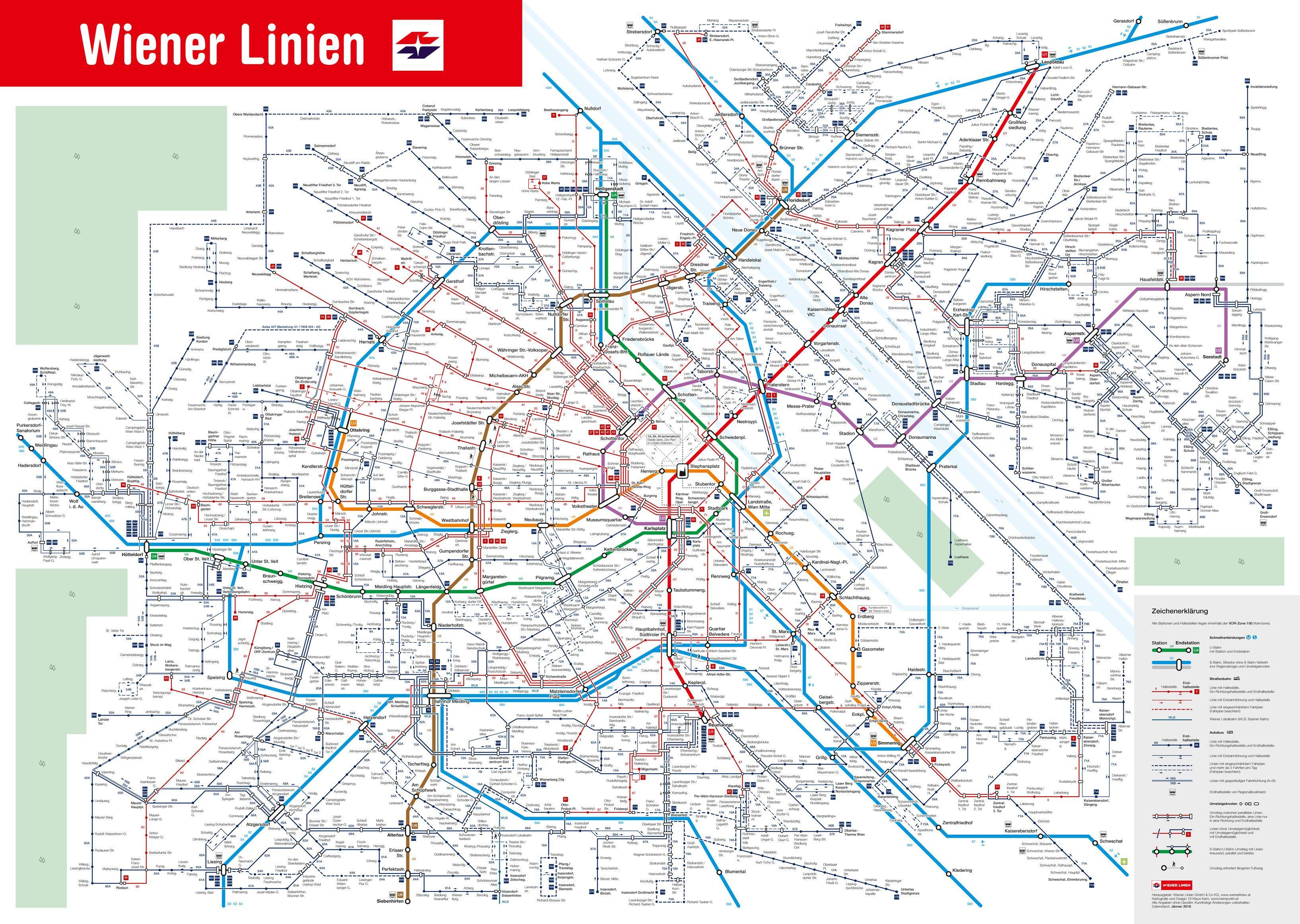 Vienna Lines public transport network map vienna wien austria