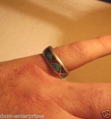 Vintage Handmade Sterling Silver Turquoise Coral Wedding Band Ring #turquoisecoralweddings