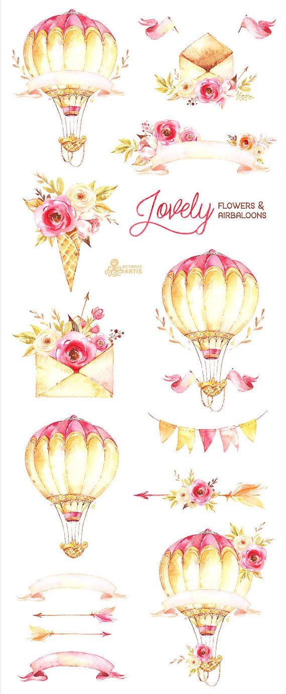 Lovely Flowers Airbaloons Watercolor Clipart Peonies Etsy Floral Watercolor Flower Painting Watercolor Flowers