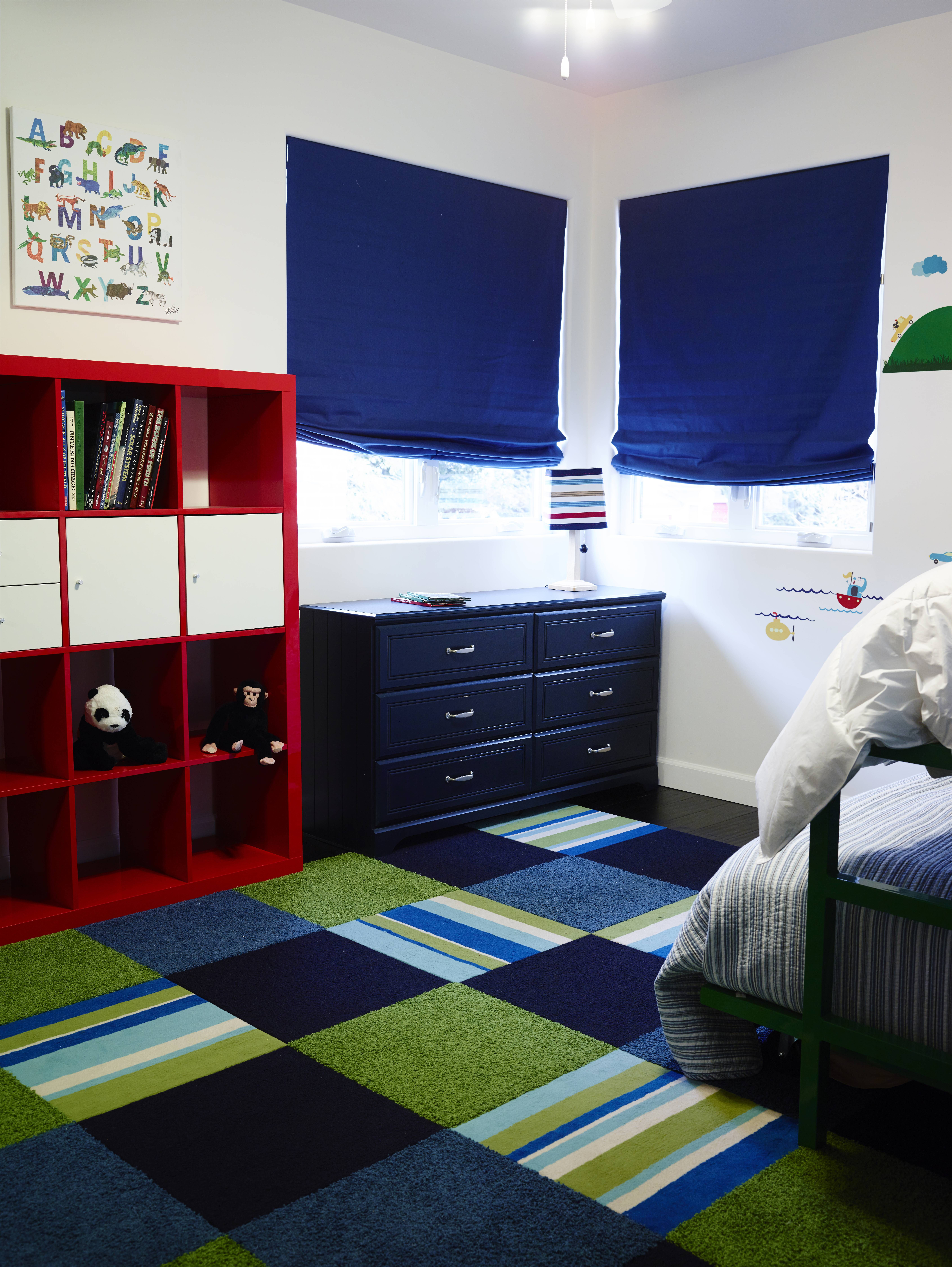 Boys Bedroom With Flor Carpet Tiles And Custom Shades From The