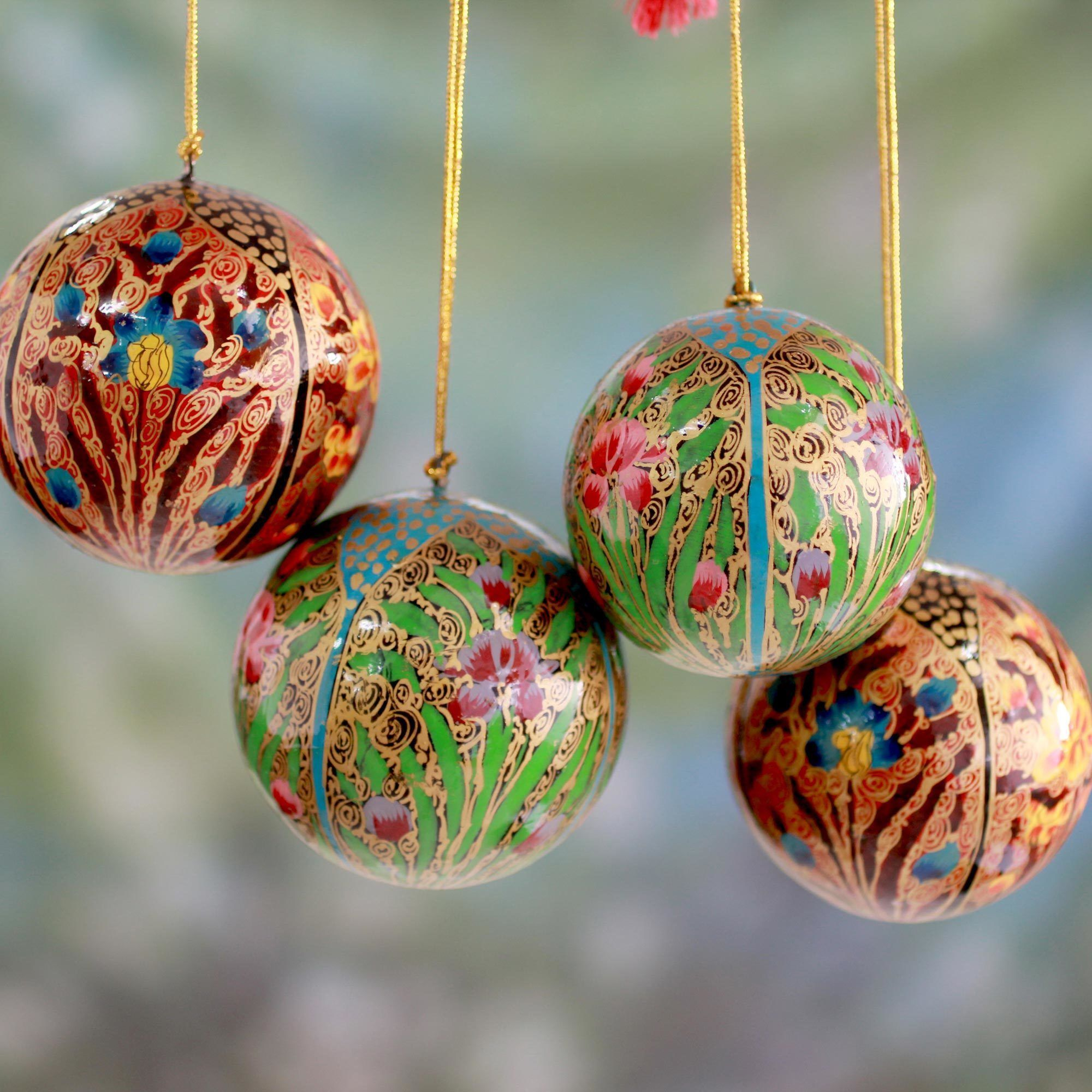 Novica Set of 4 Handcrafted Papier Mache 'Christmas Blossoms ...