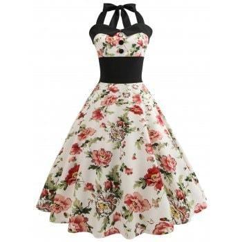 27aaa1dd0a  DressLily -  Dresslily Halter Floral Print Pin Up Dress - AdoreWe.com