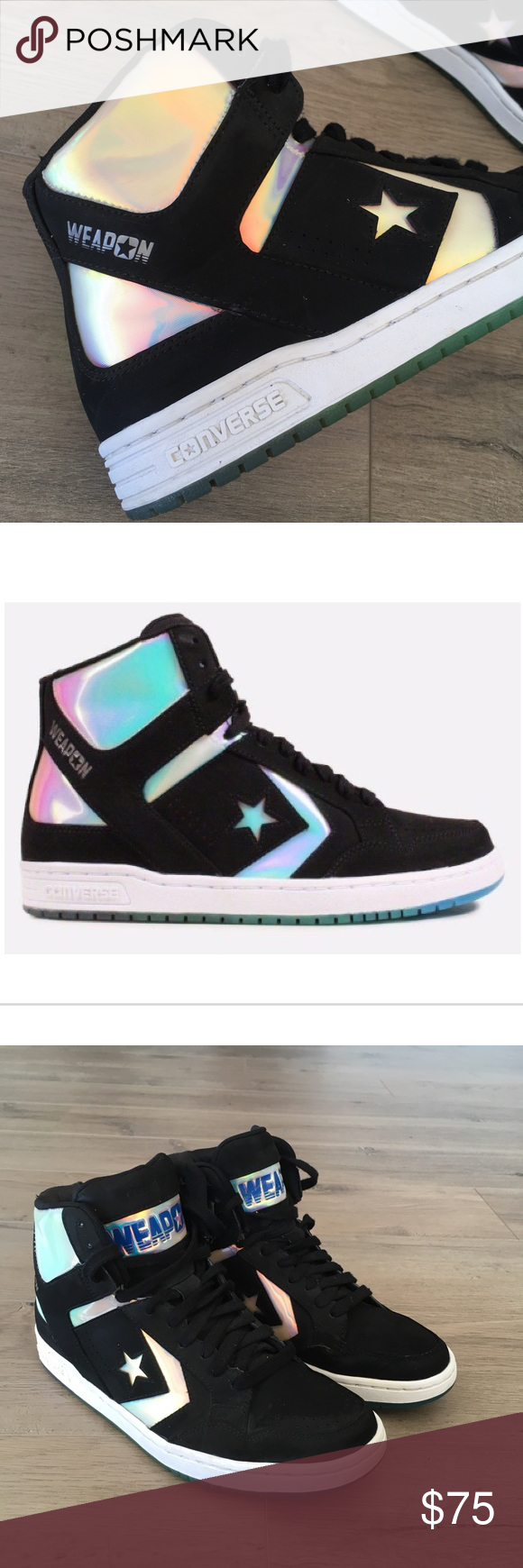 CONVERSE ~ weapon men s black holographic sneaker CONVERSE ~ Converse weapon  brand Rare Black sneaker Hologram 0eebc26f5