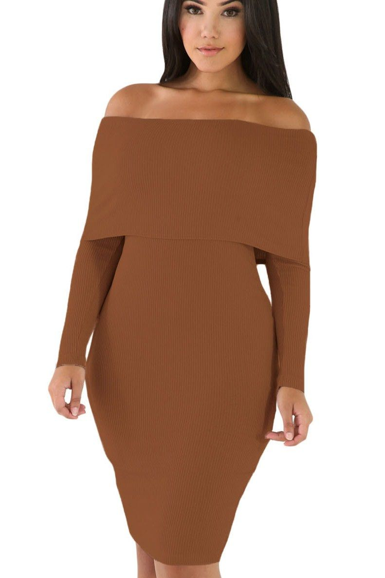 Robe moulante marron