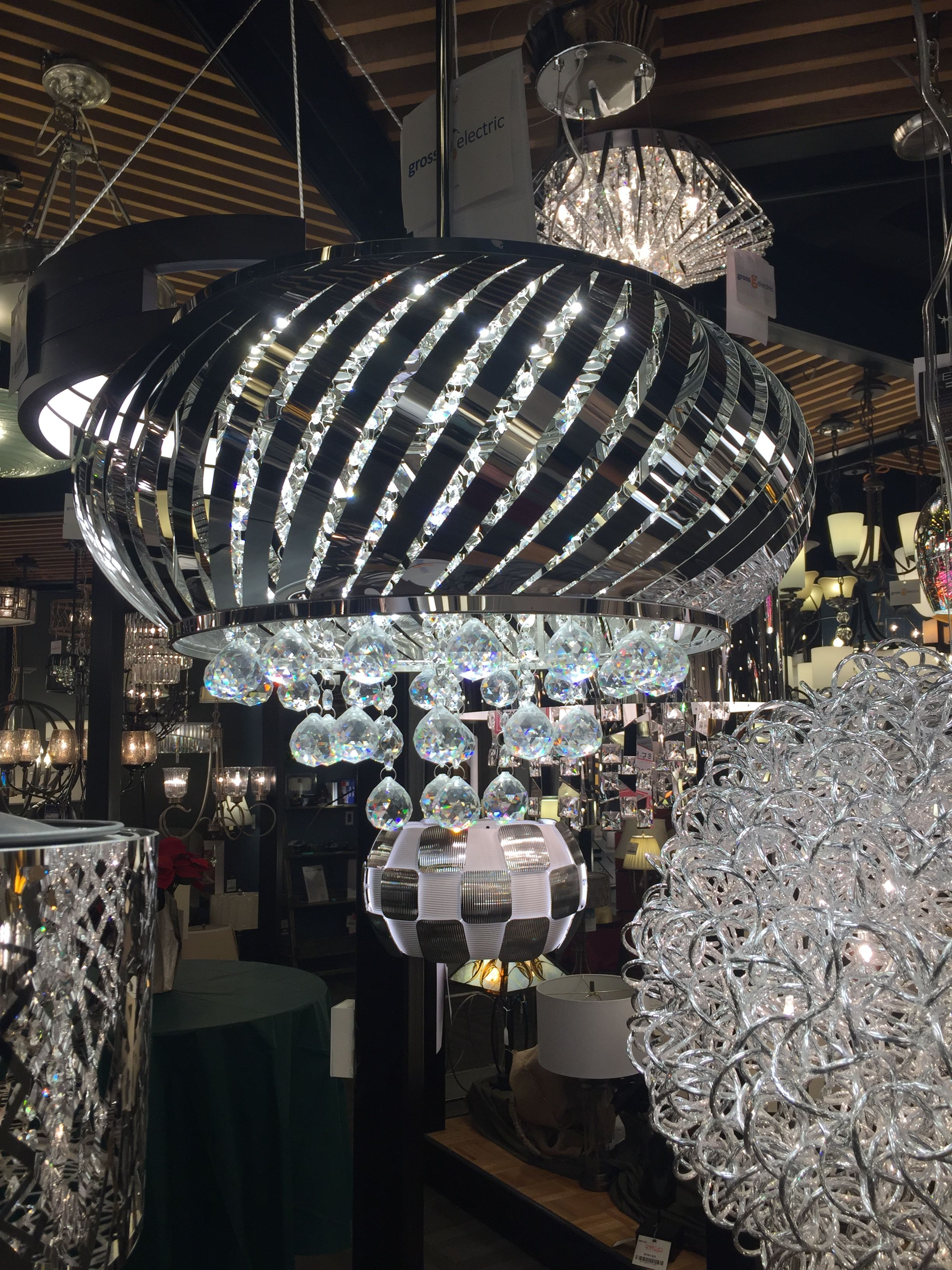 Contemporary crystal lighting at gross electric ann arbor showroom electric