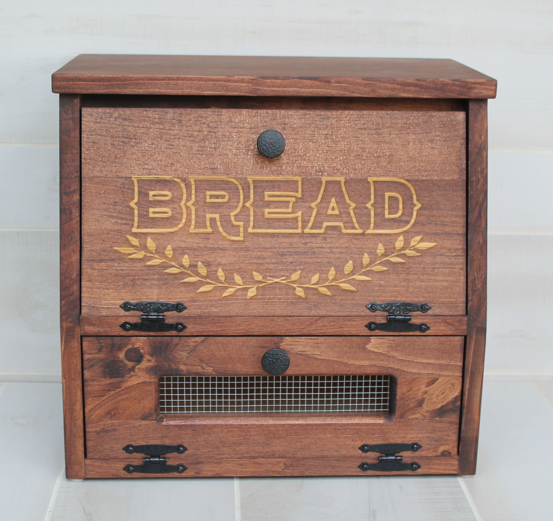 Rustic Bread Box Vegetable Bin Farmhouse Wooden Engraved Storage