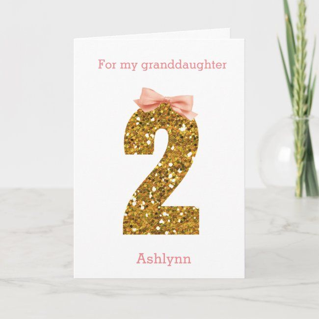 Pink Bow And Gold Glitter 2nd Birthday Card Zazzle Com Birthday Cards Kids Birthday Cards Birthday Keepsakes