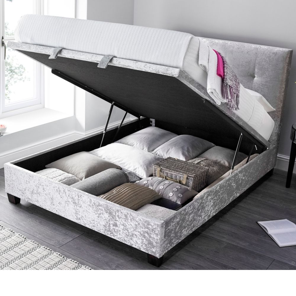 Walkworth Silver Velvet Fabric Ottoman Storage Bed Frame 6ft Super King Size Ottoman Storage Bed Bed Frame With Storage Fabric Ottoman
