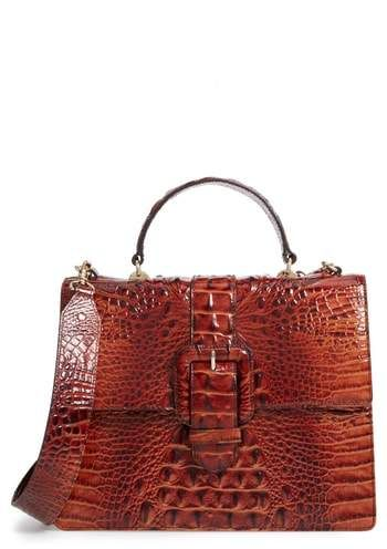 478ebd82cac3 Brahmin Medium Francine Croc Embossed Leather Satchel