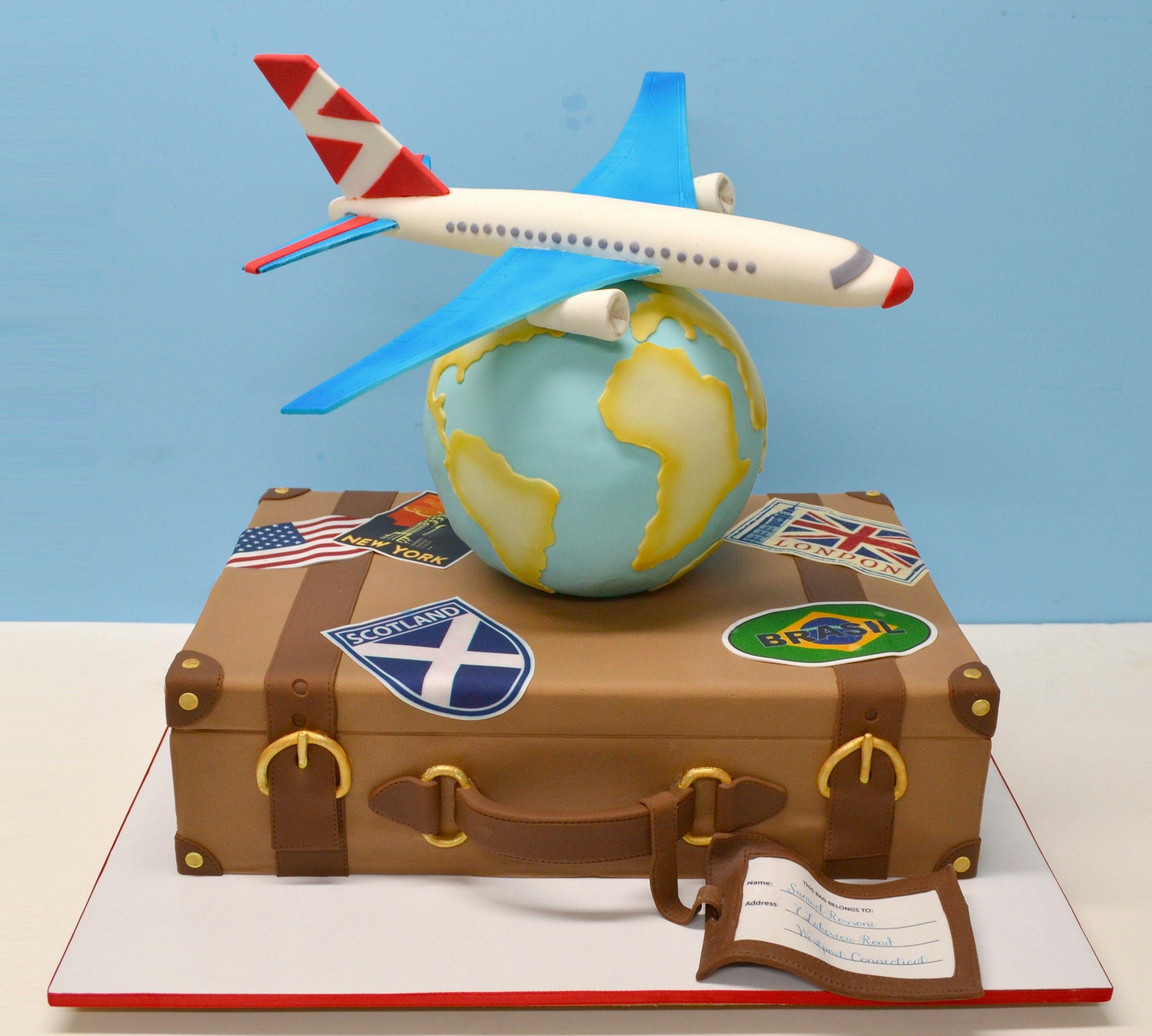 Travel Cake, suitcase, globe, airplane