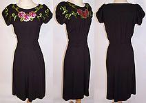 40s Vintage Ellen Kaye Black Silk Crepe Floral Sequin Swing Cocktail Dress