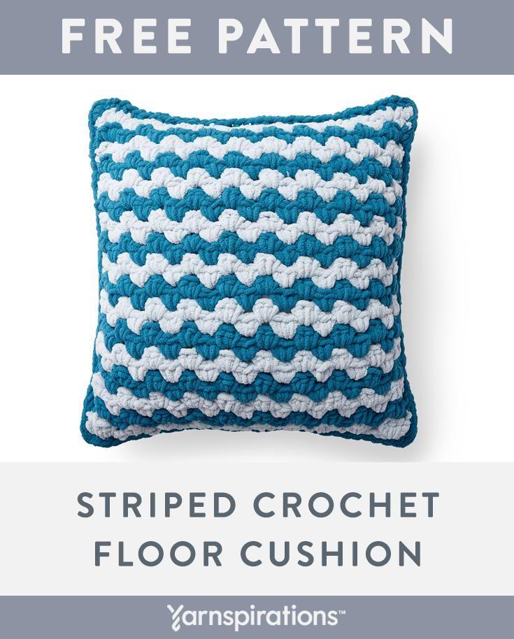 Free Crochet Floor Cushion Pattern | Made with Bernat Blanket Extra