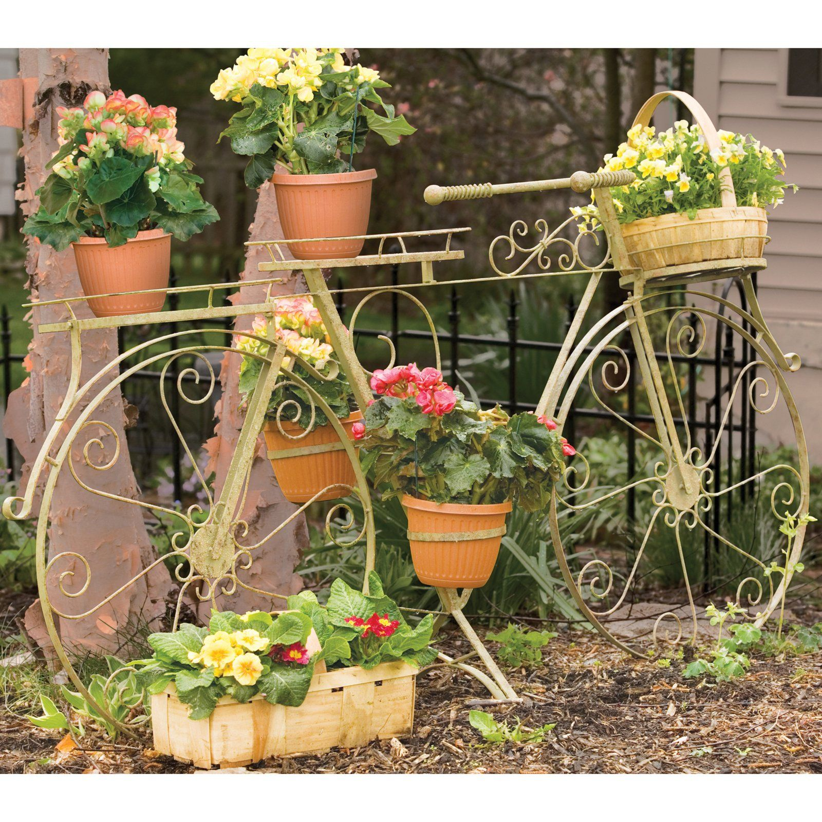 Panacea Whimsical Bicycle Plant Stand  Antique Willow $34999