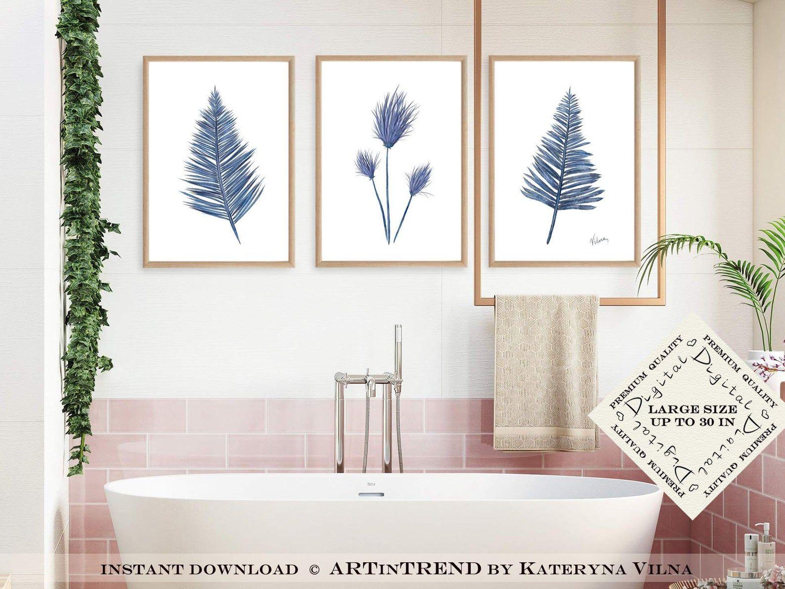 Tropical Leaves Set Of 3 Bathroom Wall Decor Downloadable Etsy In 2020 Bathroom Wall Decor Tropical Wall Art Leaf Wall Art
