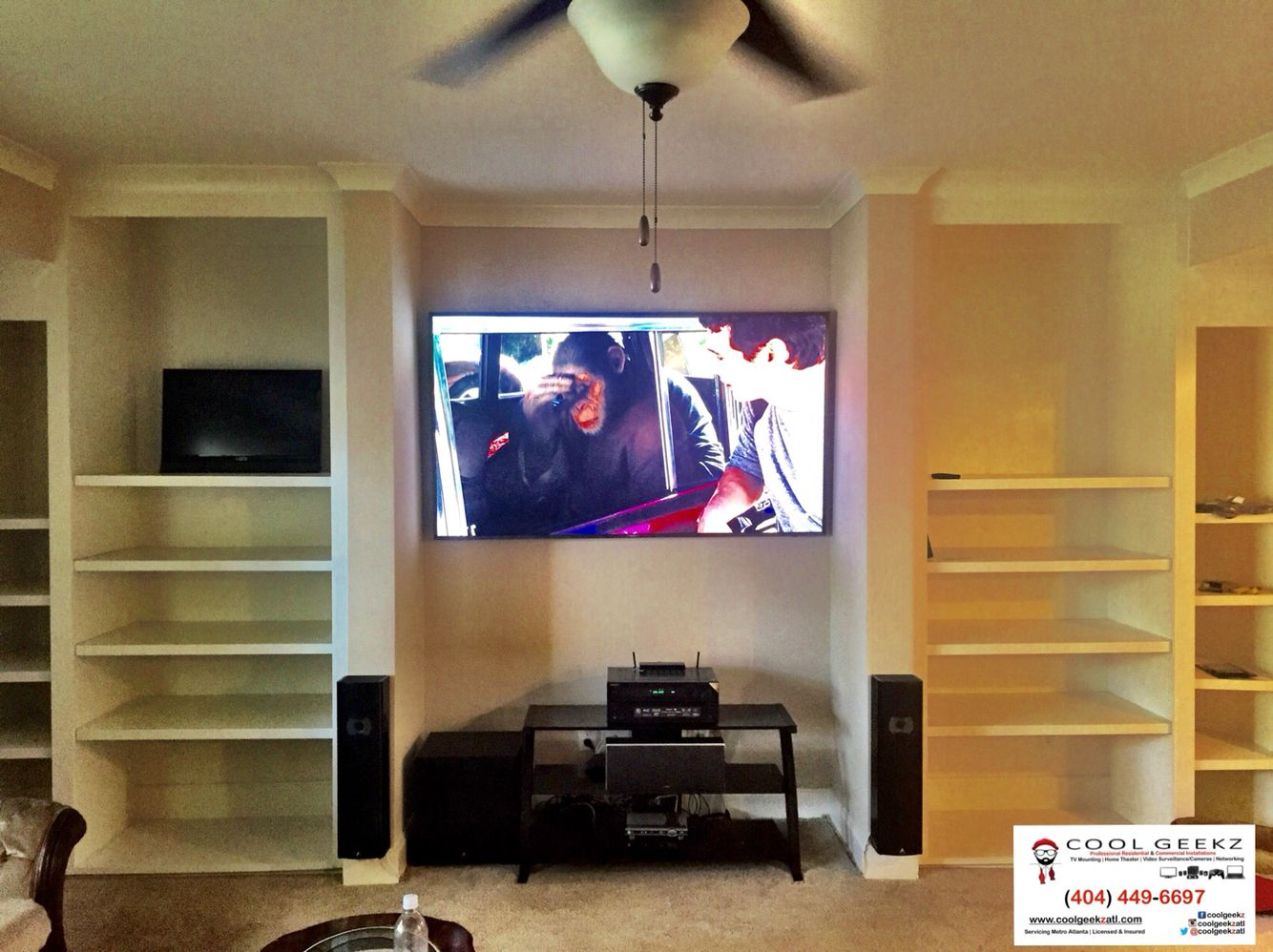 full home theater setup done 75 4k tv onkyo receiver atlantic tech speakers and a monster subwoofer  [ 1334 x 998 Pixel ]