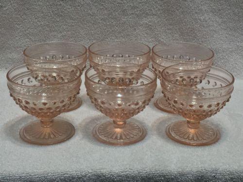 $57.99 - Vintage-Anchor-Hocking-Pink-Depression-Hobnail-Set-of-6-Sherbet-Champagne
